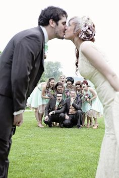 Fun pose with the wedding party.  How about this for a cute thank you card image?