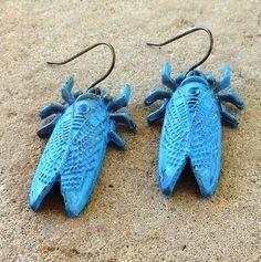 FUN fund  blue patina cicada dangle earrings by lluviadesigns, $12.00