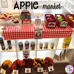 Apple Orchard Dramatic Play - Pocket of Preschool Fall Preschool, Preschool Classroom, Preschool Crafts, Classroom Ideas, Prop Box, Felt Squares, How To Make Pie, Kindergarten Themes, Dramatic Play Centers