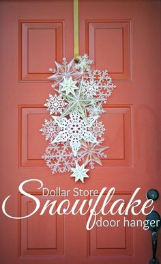 DIY Dollar Store Christmas Decor Ideas - For Creative Juice Dollar Store Snowflake Door Hanger. Welcome the upcoming winter holiday with a create and elegant door hanger made with snowflake ornaments! Noel Christmas, All Things Christmas, Winter Christmas, Christmas Wreaths, Christmas Ornaments, Snowflake Ornaments, Winter Wreaths, Paper Snowflakes, Outdoor Christmas