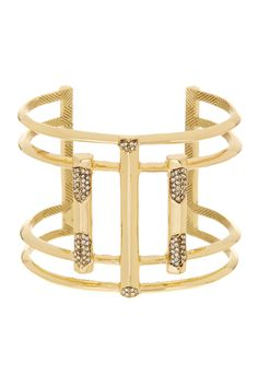 Beautiful House of Harlow 1960 Pave Crystal Gold Open Art Deco Cuff Bracelet