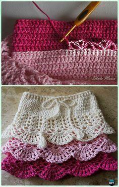 Crochet Layered Shell Stitch Skirt Free Pattern [Video]- Crochet Girls Skirt Free Patterns