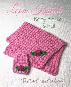 Borderless Matching blanket (any size) and baby hat- Loom Knitted Pattern and video tutorial PLEASE NOTE: This listing is for the written loom knitting PATTERN ONLY (includes link to video tut Loom Knitting Blanket, Loom Blanket, Afghan Loom, Round Loom Knitting, Loom Knit Hat, Loom Knitting Projects, Loom Knitting Patterns, Baby Knitting, Loom Crochet