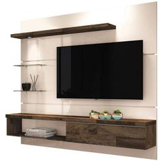 Foto 1 - Painel Suspenso com Bancada Ores Off Whithe/Deck - HB Móveis Bedroom Tv Unit Design, Tv Unit Furniture Design, Living Room Tv Unit Designs, Wall Unit Designs, Ceiling Design Living Room, Tv Stand Designs, Tv Wall Design, Tv In Bedroom, Interior Design Living Room