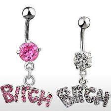 Crystal Body Piercing Surgical Button Belly Ring Jewelry Navel Bar BITCH Stylish