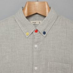 Folk 3 Button Shirt in Grey. I  like the primary color influence.
