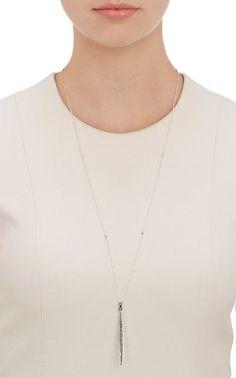 Feathered Soul Diamond Stick Pendant Necklace - Necklaces - 503515724