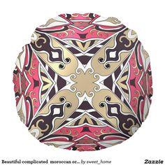Beautiful complicated  moroccan ornament. round pillow  Moroccan ornament make interior unique and add aesthetics sense. Ornament create in oriental tradition. #Home #decor #Room #accessories #Interior #decorating #Idea #Styles #abstract