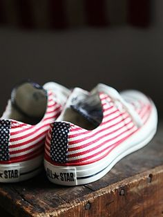 "Americana Chucks | Red, white, and blue ""All-American"" low-top Converse All-Stars. Rubber sole.  *By Converse  *Canvas Upper  *Import"