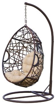 I want! Berkley Outdoor Swinging Egg Chair - Contemporary - Outdoor Chairs - Great Deal Furniture