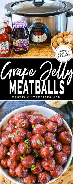 Crock Pot Party Meatballs {Grape Jelly Meatballs} · Easy Family Recipes LOVE THESE! These Crock Pot party meatballs are a FAVORITE for the holidays and whenever we have Party Meatballs, Crock Pot Meatballs, Recipe For Crockpot Meatballs, Cocktail Meatballs Grape Jelly, Slow Cooker Frozen Meatballs, Sauce For Meatballs, Hawaiian Meatballs, Grape Jam, Slow Cooker