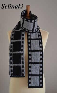 Knit Gray Filmstrip Scarf Film Roll