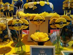 Minion birthday party cookie pops! See more party ideas at CatchMyParty.com!