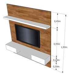 painel tv with open shelf Have removeable stone sections on each side for Warm Tips: Wooden Floating Shelf Cabinets large floating shelves coffee tables.Wooden Floating Shelf Cabinets floating shelves around tv woods.Floating Shelves Under Mounted T Tv Wall Design, Tv Unit Design, Shelf Design, Design Design, Design Ideas, Tv Rack, Tv Wall Decor, Diy Wall, Wall Tv