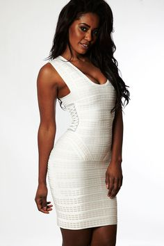 Clothing : Dresses : Bandage Dresses : 'Summer' Cream Textured Peplum Bandage Dress