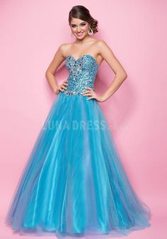 Floor Length Tulle Ball Gown Natural Waist Sweetheart Dresses For Prom