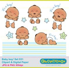 Baby boy - Digital Clipart and Digital Paper - Set 31