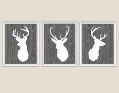 Deer Head Print set of 3 white silhouette on wood