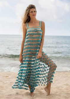 blue crocheted maxi dress