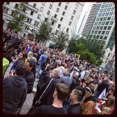 Huge turnout for #Orlando #vigil in #Vancouver. #vancouverartgallery #lgbtq