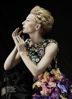 High fashion and chiffon flowers with Cate Blanchett for Harper's Bazaar Australia. ~ Photographer Will Davidson.