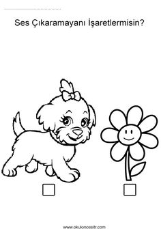 Çiçek ve köpekten sesli sessiz kavramı çalışmaları sayfası, sesli sessiz kavramları etkinlikleri ve örnekleri sayfaları resmi,duyu çalışması etkinliği örneği, loud quiet worksheets and coloring pages printables bilgisayara indir ve çıktı alma sitesi.