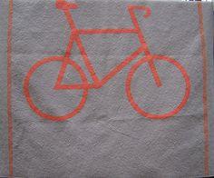 Orange/Tangerine Bicycle Guy Quilt Modern Queen by EggMoneyQuilts, $365.00