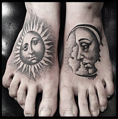 A cool blackwork tattoo sun and moon on feet
