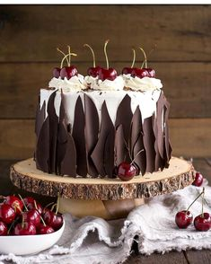 This Black Forest Cake combines rich chocolate cake layers with fresh cherries, . - This Black Forest Cake combines rich chocolate cake layers with fresh cherries, cherry liqueur, and - Whipped Cream Frosting, Cream Cake, Cherry Frosting, Buttercream Frosting, Ice Cream, Sour Cream, Black Forest Cake, Black Forest Birthday Cake, Cake Delivery