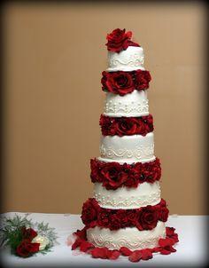 - Chocolate cake with Vanilla BC, covered in homemade Buttercream MMF.  Wedding cake