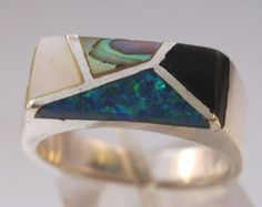Inlaid Opal Onyx Abalone Mother of Pearl Sterling Silver Band Ring Unisex Mens Size 7 1/2 Signed CW Vintage Jewelry FREE SHIPPING