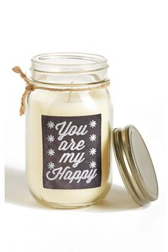 This sweet mason jar candle will add a rustic, homey touch to any one's home. We love this gift idea! @Nordstrom