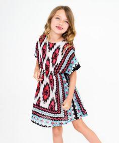 Look at this #zulilyfind! Red & Blue Geometric Dress - Toddler & Girls #zulilyfinds