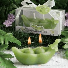 Two Peas in a Pod!  Twin candle favor