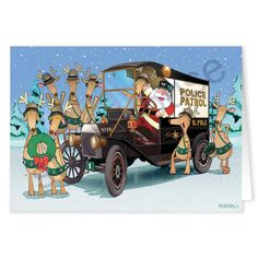 Santa and his reindeer crew in an old police car...Old Fashion Police Theme Christmas Card.  Law enforcement themed Holiday greeting card!