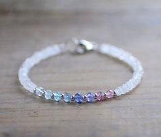 Multicolor Gemstone & Faceted Moonstone Bracelet with Sterling Silver or Gold Filled Beads, Delicate Beaded Aqua Blue Pink Gemstone Bracelet Gemstone Bracelets, Handmade Bracelets, Gemstone Jewelry, Beaded Jewelry, Handmade Jewelry, Diamond Bracelets, Jewelry Necklaces, Bracelet Crafts, Jewelry Crafts