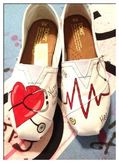 Nursing Custom Toms shoes / design 2 on Etsy, $105.00/// great gift idea for VALENTINES for a special nurse !!