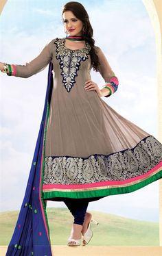 Classic Clay Grey Party Wear Churidar Kameez Set HSPFEA4106 - www.indianwardrobe.com
