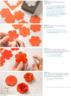 Tutorial for making paper flowers using the Stampin up Blossom Punch