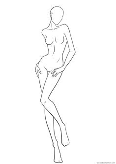 Fashion Drawing Tutorial, Fashion Figure Drawing, Fashion Model Drawing, Fashion Design Drawings, Fashion Sketches, Drawing Models, Dress Sketches, Drawing Faces, Fashion Illustration Poses