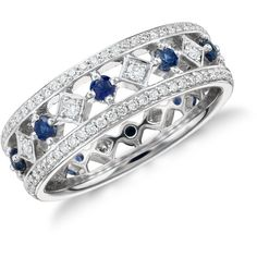 Blue Nile Gala Sapphire and Diamond Eternity Ring (3,700 CAD) ❤ liked on Polyvore featuring jewelry, rings, diamond rings, diamond jewellery, 18k ring, blue nile rings and blue nile jewelry