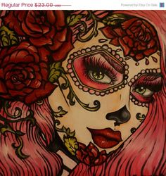 Red Roses - 20 by 20 in Day of the Dead Stretched Canvas Print  Rockabilly Pin Up Pink Hair Dia De Los Muertos  Lowbrow Tattoo art