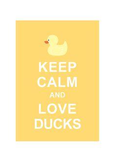 Keep Calm and Love Ducks : Pastel Yellow / Children art / KIds room decor / Bathroom decor / BUY 2 Get 1 Free