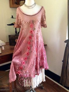 This reminds me of Donna Stewart!!! RESERVED FOR STEPHANIE S.  Luv Lucy Crochet Dress Lucy's Tea Rose Blossom Dip Dyed