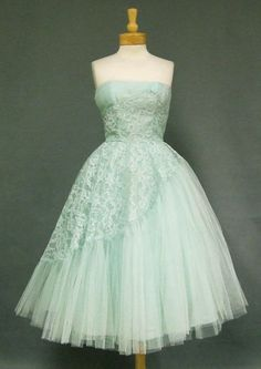 50s Style MINT Green Belted PINUP Ballerina Party Dress with ...