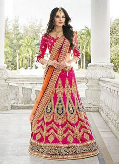 Mruga Pink Silk & Net Lehenga Choli  #Mruga, #Georgette, #Embroidered