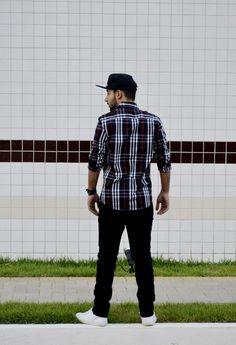 xadrez preto, boné preto, look masculino, Djanilton França moda masculina www.boyestilo.com