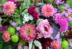 Wedding Flowers from Springwell: Zinnia and Dahlia Centerpiece In Jewel Tones