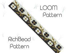 Beaded loom bracelet pattern, PDF seed bead bracelet, DIY beading, Instant download, Bookmark flower pattern, Digital square stitch jewelry ++++++++++++++PDF Instant Digital Download ++++++++++++ This is a pattern for a bracelet, not the real bracelet. I use Miyuki Delica seed beads