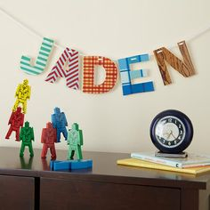 The Land of Nod | Kids' Banners & Hanging Décor: Boys Vintage Patterened Letters Wall Decor in Party Décor